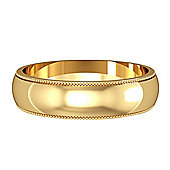 Jewelco London 9ct Yellow Gold - 5mm Essential D-Shaped Mill Grain Edge Band Commitment / Wedding Ring -