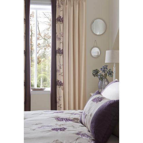 Catherine Lansfield Home Signature Rich Floral Curtains Plum 168cm wide x 183cm drop (66x72 inches)