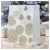 Gold Lace Doily Christmas Gift Bag, Large