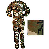Mens All in One Pyjamas – Camouflage Green & Brown (Small)