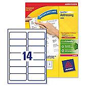 Avery Addressing Labels Laser Jam-free 14 per Sheet 99.1x38.1mm White Ref L7163-500 [7000 Labels]