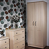 Welcome Furniture Kingston Plain Wardrobe - Light Oak - 197cm H