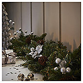 Silver Glitter Leaf, Berry and Pine Cone Christmas Garland, 1m
