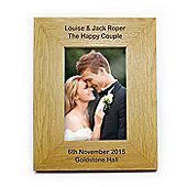 Personalised Oak Finish Longer Message Portrait Frame 6 x 4