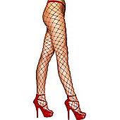 Diamond Net Tights RED