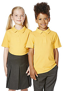 F&F School 2 Pack of Unisex Polo Shirts with As New Technology - Yellow