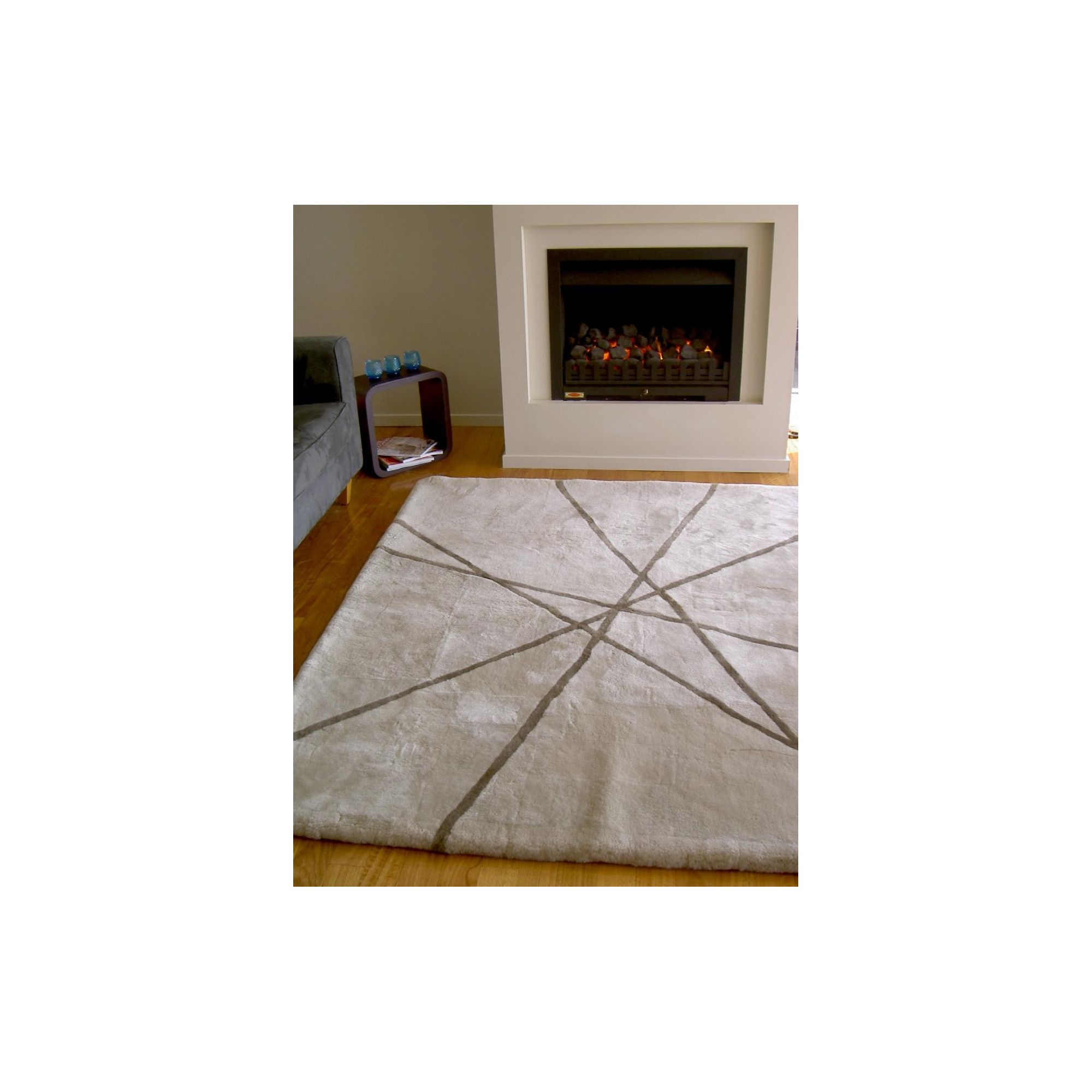 Bowron Sheepskin Shortwool Design Lines Rug - 240cm H x 170cm W x 1cm D at Tesco Direct