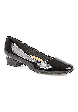 Piccadilly for Pavers Low Heeled Classic Court Shoe Black Patent - 10 - Black