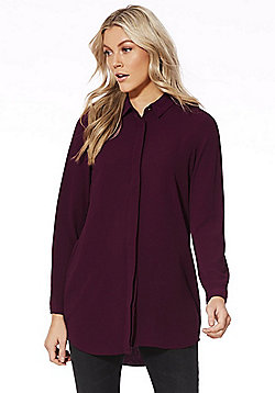 Vero Moda Long Line Shirt - Burgundy