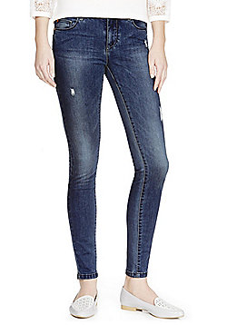 Jacqueline De Yong Distressed Stretch Skinny Jeans - Mid wash