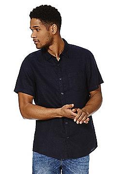 F&F Linen Short Sleeve Shirt - Navy