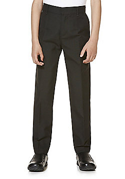 "F&F School 2 Pack of Boys Teflon EcoElite""™ Flat Front Slim Leg Shorter Length Trousers - Black"