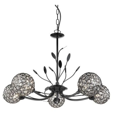 BELLIS II - 5 LIGHT CEILING PENDANT BLACK CHROME WITH CLEAR GLASS DECO SHADES