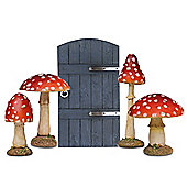Fairy Garden Ornament Set with Blue Gate Fairy Door & 4 Red Toadstool Mushrooms
