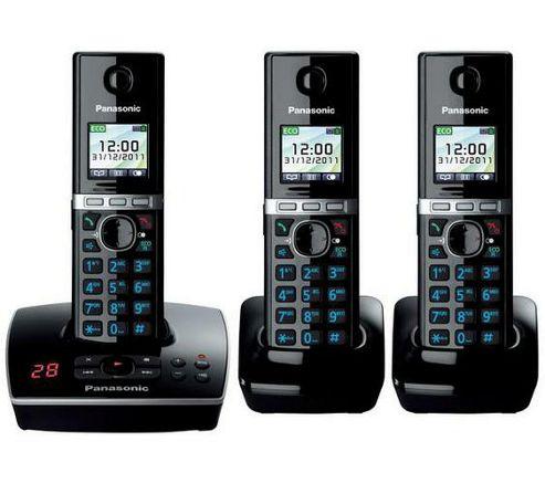 Panasonic KX-TG8063EB Triple Pack DECT Phone Sets, Answering Machine, LCD Screen, Black