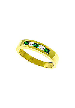 QP Jewellers White Topaz & Emerald Princess Prestige Ring in 14K Gold