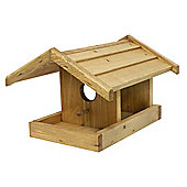 Pinewood Hanging Bird Table with Apex Roof and Perch
