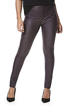 F&F Coated Mid Rise Skinny Trousers - Plum