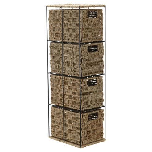 Tesco Seagrass 4 Drawer Storage Tower