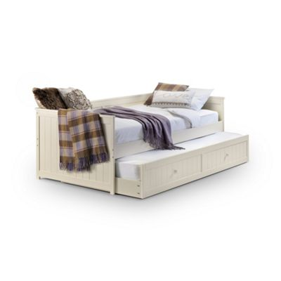 Wooden Stone White Day Bed With Underbed Trundle 2 x Single - 3ft (90cm)