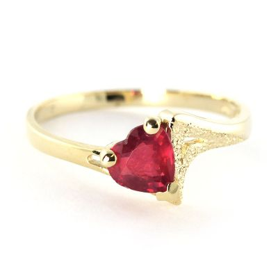 QP Jewellers 1.0ct Ruby Devotion Heart Ring in 14K Gold - Size N 1/2