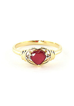 QP Jewellers Diamond & Ruby Halo Heart Ring in 14K Gold