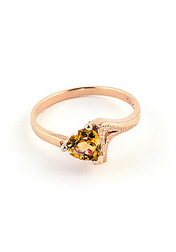 QP Jewellers 0.95ct Citrine Devotion Heart Ring in 14K Rose Gold