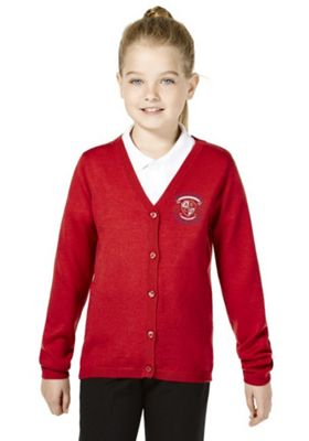 Girls Embroidered Wool Blend School Cardigan 8-9 yrs Red