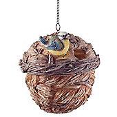 Wooden Wicker Basket Look Hanging Bird House Nesting Box