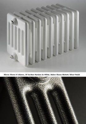 DQ Heating Peta 4 Column Designer Radiator - 492mm High x 1935mm Wide - 43 Sections - Historic Silver