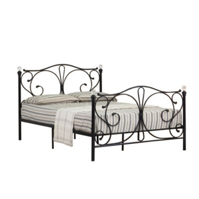 Comfy Living 4ft Small Double Crystal Finial Metal Bed Frame in Black with Damask Sprung Mattress