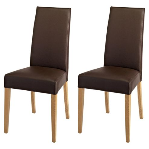 Lucca Dining Chair - Set of 2, Oak Legs & Brown Leather