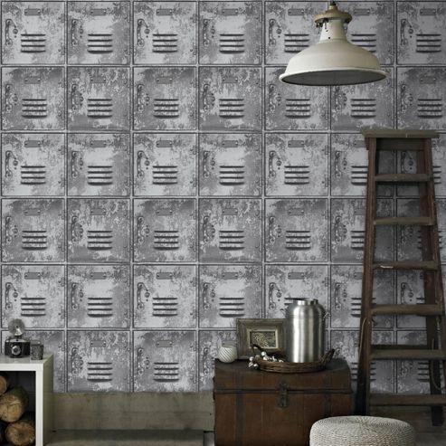 Superfresco Easy Paste The Wall Locker Metal Look Grey Wallpaper
