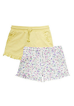 F&F 2 Pack of Plain and Floral Ruffle Shorts - Multi