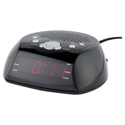 buy tesco cr106r am fm clock radio black from our clock radio range tesco. Black Bedroom Furniture Sets. Home Design Ideas