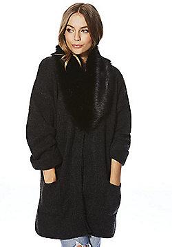 F&F Faux Fur Collar Long Line Cardigan - Black