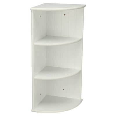 Southwold Bathroom Corner Shelf Storage Unit White Tongue Groove Effect