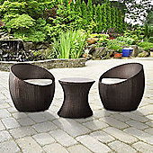BillyOh Rosario Round Bistro Set - 2 Seat Balcony Set in Brown with Cream Cushions