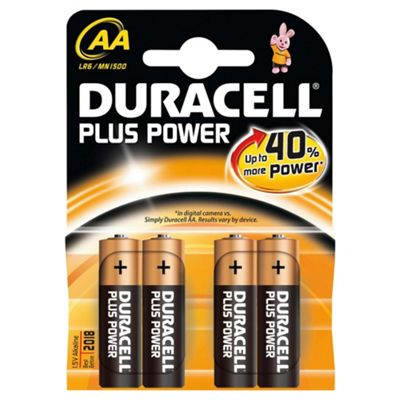 Duracell 15071649 Plus 4 pack AA Alkaline Batteries