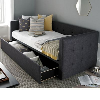 Happy Beds Frankie Fabric Day Bed and Underbed Trundle Guest Bed with 2 Pocket Spring Mattresses - Grey - 3ft Single
