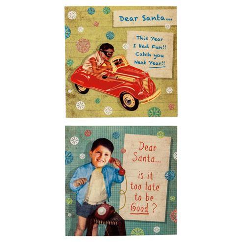 Tesco Humorous Retro Christmas Cards, 12 Pack