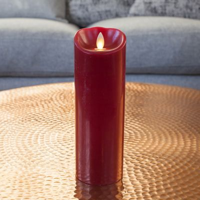 Large Red Wax Battery Dancing LED Flame Candle