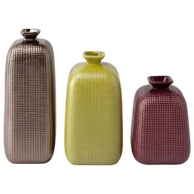 F&F Home Set of 3 Plum, Green and Bronze embossed dots vases