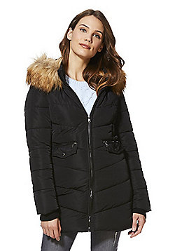 Only Long Quilted Coat - Black