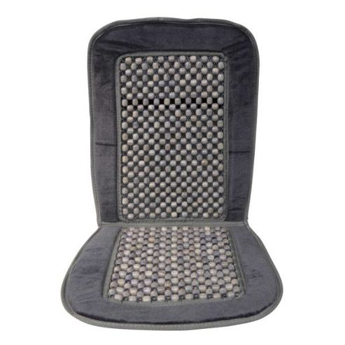 Wooden bead seat cover with dark grey border