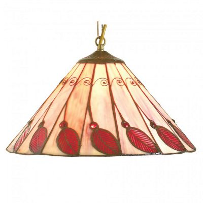 16 inch Red Leaf Shade with AB1 Antique brass Suspension Chain