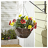 Foliage Artificial Orange and Yellow Pansy Hanging Basket