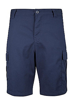 Mountain Warehouse Mens Casual Shorts 100% Twill Cotton with Multiple Pockets - Blue