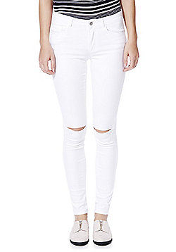 Only High-Performance Ripped Knee Stretch Skinny Jeans - White