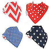 Zippy Reds and Blues Bandana Dribble Bibs, 4 pack, one size